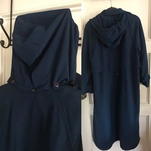 GALLERY long trench coat royal blue hood size 8